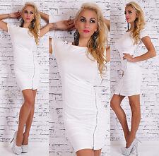 Sexy Basic Kurzarm Minikleid Party Kleid Cocktailkleid mit Zip Weiß 34 36 38