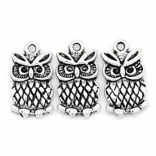5 x Tibetan Silver  Owl Pendant Charms Bird Solid