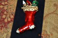 Vintage signed Lia Christmas Stocking Brooch Enamel with Rhinestones Mint