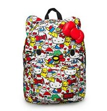 Loungefly Hello Kitty Classic Vintage Print Face 3D Bow Nylon Backpack