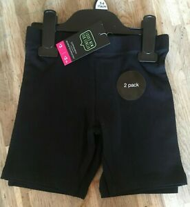 Black Cycling Shorts, Pack of 2, School, Dance, Gym, Running. Age 5-6