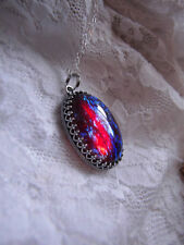 .925 sterling silver LARGE fire opal DRAGONS BREATH Necklace Pendant w/chain BOX