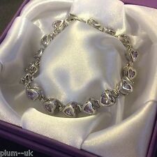 "White Gold Bracelet Lilac purple amethyst heart 7.25"" bracelet 18k GF Plum BOXED"