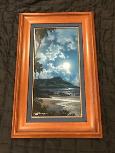 "Large Roy Gonzalez Tabora Hawaiian Print Custom Frame ""BLUE DIAMOND"" 33x21"