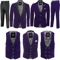 Mens Purple Velvet Vintage 3 Piece Suit Tuxedo Blazer Coat Waistcoat Trouser