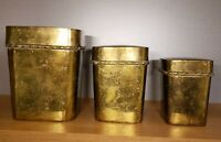 3 Piece Vintage Brass Canister Set With Lids