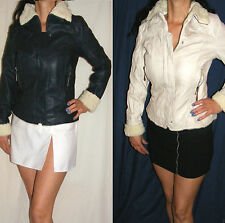 Faux Leather Patternless Cropped Coats & Jackets for Women