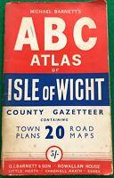 G I Barnett's ABC Atlas of Isle of Wight incl County Gazetteer 1950s VGC