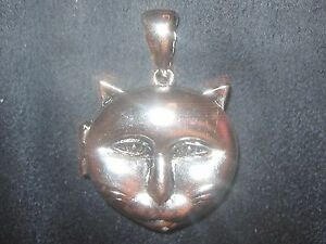 UNIQUE NEW 30MM KITTEN KITTY SILVER CAT LOCKET CHARM PENDANT NECKLACE