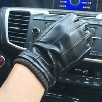 Men's 360° Smart Touch Screen Gloves Genuine Leather 4-Lines Wool Wrist Black