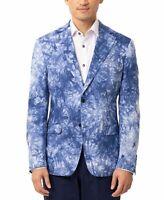 Tallia Mens Sport Coat Blue Size Medium M Abstract Print Slim Fit $350 #020