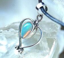 Herz Kettenanhänger Silber Edelopal Weiß A+++ Opal Oval Bunt Verspielt Feuer WOW