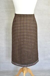 LK BENNETT Quirky wool tapestry embroidered knee length tweed skirt 14