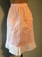 VINTAGE1960-70s HALF APRON - LIGHT WEIGHT PINK & WHITE COTTON