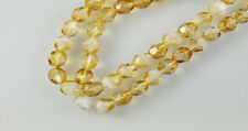 50 Topaz / White Mix Faceted Round Glass Beads 6MM