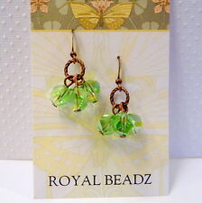 Antique Style Copper Peridot Green Hexagon Crystal August Birthstone Earrings