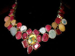 KATE SPADE NY SPACE AGE FLORAL EARRINGS + RUBY DICHROIC GEM GLASS NECKLACE