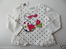 First Impressions White Ruffled Long Sleeve Dot T-Shirt 18 Months NWT G82610