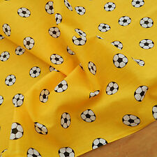 """per metre yellow football polycotton fabric/material 44"""" 112cm wide"""