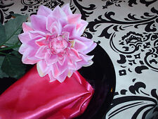 """Damask Table Square Black White Bridal Traditions  24"""""""