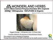 LION'S MANE Hericium Erinaceus Extract 400Mg *100 Capsules, polysaccharide >40%