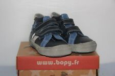 BOPY -  Bistar - Chassures bébé Garçon -  Cuir Bleu et Gris  -  T 20  neuf