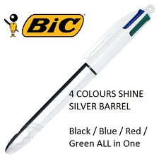 BIC Multi All in One  4 Colour 1.0mm Shine Retractable Pen - 1x SILVER barrel