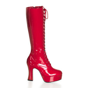 Funtasma EXOTICA-2020 Women's Platforms Red Patent Chunky Lace Up Knee High Boot