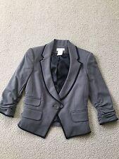 NWOT LaRok gray jacket black trim cut-away ruched sleeve size S
