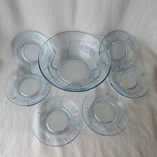 alte Kompottschüssel und 6 Schalen Dessertschalen Glas eisblau Kompott Set