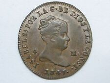1847 Genuine Old Isabel Ii 4 Maravedi Jubia Spanish Spain Copper Coin