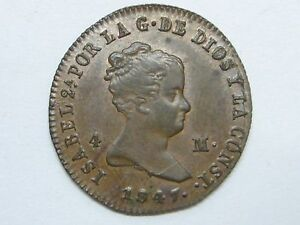 1847 GENUINE OLD ISABEL II 4 MARAVEDI JUBIA SPANISH SPAIN COPPER COIN