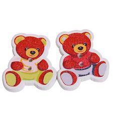 250pcs Wholesale Craft Cartoon Bear Card Wooden Buttons Scrapbook Sewing DIY J