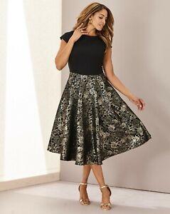 JD William Joanna Hope Jacquard FitnFlare Dress Black Gold Size 20 UK RRP £130