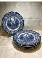 Liberty Blue, Dinner Plates, Set of 4,Staffordshire Ironstone, Independence Hall