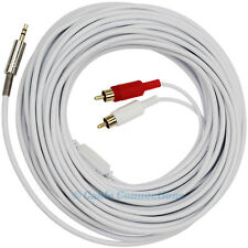 20M WHITE LONG 3.5MM MINI JACK TO 2 RCA PHONO PLUG AUDIO CABLE PC-TV STEREO LEAD