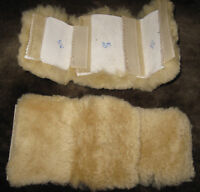 Natural 3 pc Sheepskin Bridle Strap Pads Cover Horse Gear Grazing Muzzle Halters