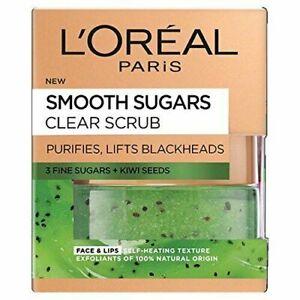 L'Oréal Paris Smooth Sugar Clear Kiwi Face and Lip Scrub, 50ml (1935)