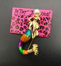 Betsey Johnson Rainbow Mermaid Gold Brooch Pin Pendant Necklace Free Gift Bag