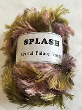 "Crystal Palace Splash #7186 ""Mums"" Mauve Pink Greens Feather Boa Yarn 100 Gram"