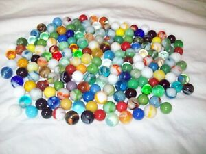 175 vintage glass marbles various sizes solids and swirls