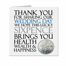 Lucky Sixpence WEDDING DAY Keepsake Thank You Gift Favour  UK FREE POST