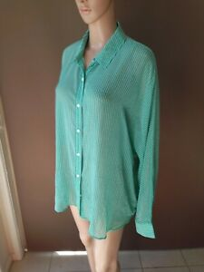 Sportscraft Size 18 Green  Button Up Collared Shirt Blouse Plus Size