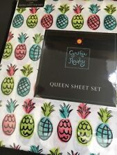 CYNTHIA ROWLEY Pineapple Queen Sheet set Pink Green Blue Teal Tropical Colorful