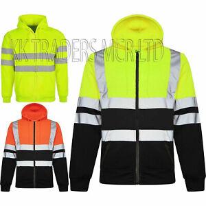 Hi Viz Vis Jacket Zipped Hoodie Work Hooded Fleece Lined Visibility Sweatshirt