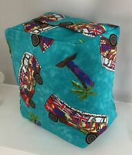 TURQUOISE RED PURPLE FUNKY CAMPERVAN PRINT FABRIC DOOR STOP ... UNFILLED