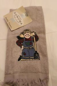 Fall Autumn Scarecrow w/ Pitchfork & Crow Embroidered  Grey Fingertip Hand Towel