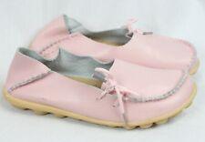 Pink Leather Shoes Flats Loafer Slip On Boho Folk Moccasin Gypsy Nubby Sole 36 6