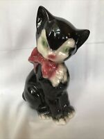 VINTAGE Royal Copley black and white cat W/ Green Eyes  planter Beautiful