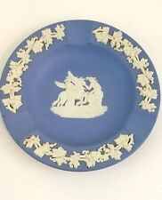 Wedgwood Vintage Blue Jasperware Ashtray Made In England Pegasus White Decor
